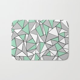 Abstraction Lines with Mint Blocks Bath Mat