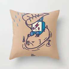 Crossing The River During Rain Throw Pillow
