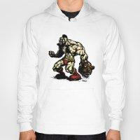 street fighter Hoodies featuring Bear Wrestler - Street Fighter by Peter Forsman