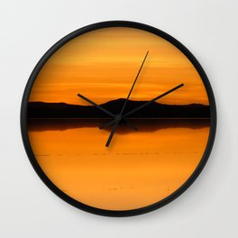 Sunset Salar de Uyuni 5 - Bolivia - Landscape and Rural Art Photography Wall Clock
