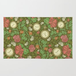 Roses with pocket watches and butterflies on green background Rug