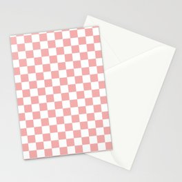 Large Lush Blush Pink and White Checkerboard Squares Stationery Cards