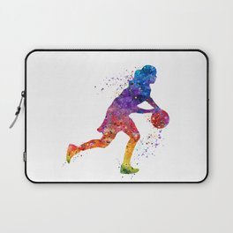 Girl Basketball Point Guard Colorful Watercolor Sports Art Laptop Sleeve