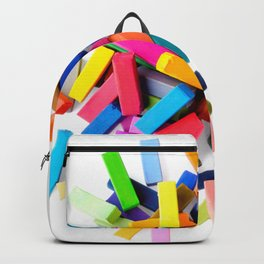 Set of colorful crayons, isolated on white background Backpack