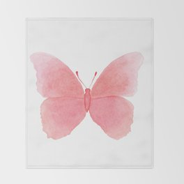 Watermelon pink butterfly Throw Blanket