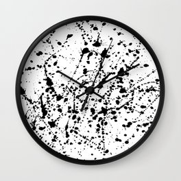 Splat Black on White Wall Clock