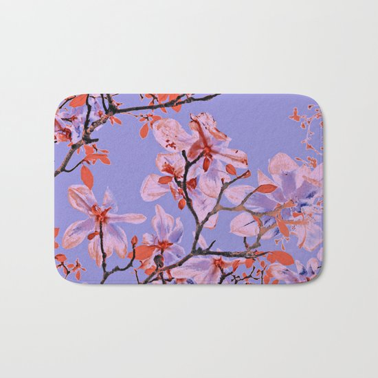 Copper Flowers on violett ground Bath Mat