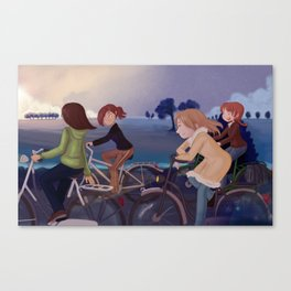 Riding to school Canvas Print