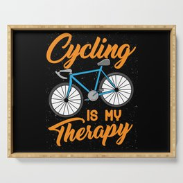 Cycling is my Therapy Bikers Gifts Serving Tray