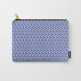Pink polka dots superimposed on a blue background Carry-All Pouch