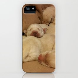 The Huddle with yellow lab puppies iPhone Case