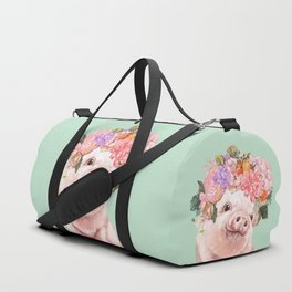 Baby Pig with Flowers Crown in Pastel Green Duffle Bag