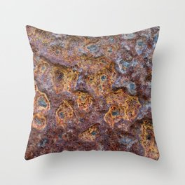 Old rusty metal wall surface Throw Pillow
