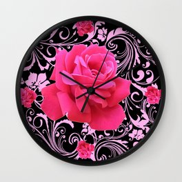 ORNATE  BLACK & PINK ROSE GARDEN PATTERN Wall Clock