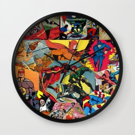 Comic Book Collage Wall Clock