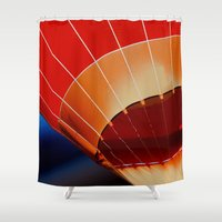 hot air balloon Shower Curtains featuring Hot Air Balloon by DistinctyDesign