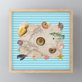 Marine Treasures Blue Stripes Framed Mini Art Print