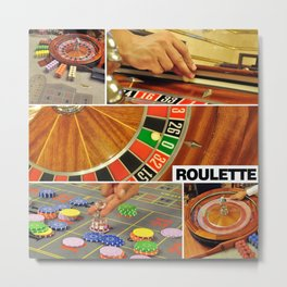 casino roulette table game collage croupier Metal Print