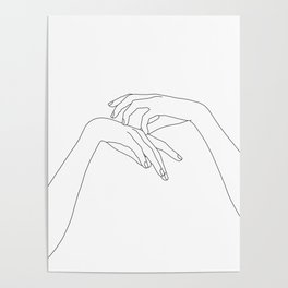 Hands line drawing illustration - Clea Poster