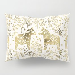 Swedish Dala Horses – Gold Palette Pillow Sham