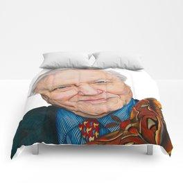 SIR DAVID ATTENBOROUGH 2015 71cm x 49cm Prismacolor & Mixed Media Comforters