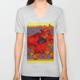 Abstract Red Poppy Monarch Butterflies Yellow-Grey Unisex V-Neck