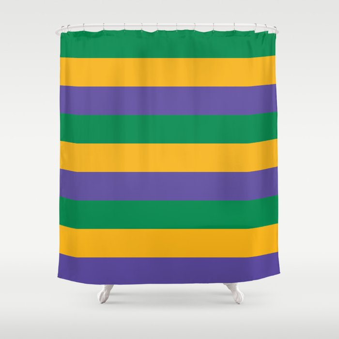 Mardi Gras Rugby Stripe Shower Curtain