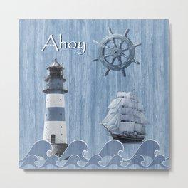 Ahoy - Maritime blue Metal Print