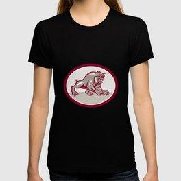 Bulldog Dog Mongrel Prowling Oval Cartoon T-shirt