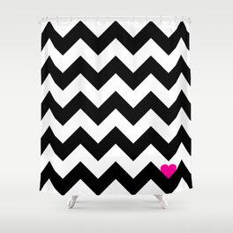 Heart & Chevron - Black/Pink Shower Curtain