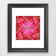 LIFE IS BEAUTIFUL Bold Pink Bird Feathers Ocean Waves Painting Sea Romantic Love Girlie Abstract Framed Art Print
