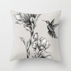 Magnolia Flower and Hummingbird Throw Pillow