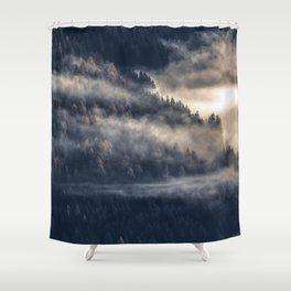 Calming Mountain Fog Scene Shower Curtain