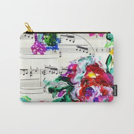 Musical Beauty - Floral Abstract - Piano Notes Carry-All Pouch