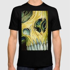 yellow water color skull Black MEDIUM Mens Fitted Tee
