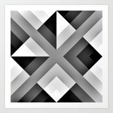 Monochrome Gradient Abstract Art Print