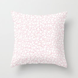 Pink and White Triangles Dizzy All-Over Pattern Throw Pillow