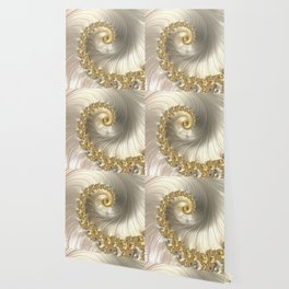 Gold and Pearl Fractal Swirl Wallpaper