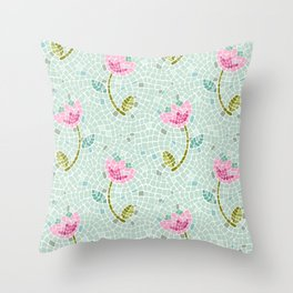 Tulip Mosaic in Pink and Mint Throw Pillow