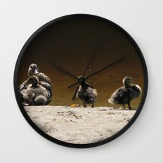 Ducks on the river  Wall Clock