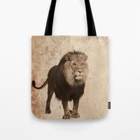decal Tote Bags featuring Lion by haroulita