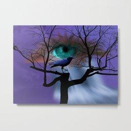 Spirit Eye Looking over Crow in Tree A405 Metal Print