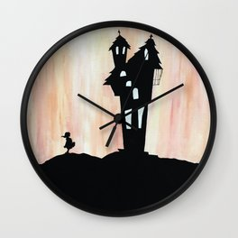 Little Red Riding Hood Enchanted House Fairy Tale Storybook Haunted house Spooky illustration Wall Clock