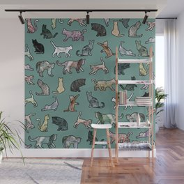 Cats shaped Marble - Green Wall Mural