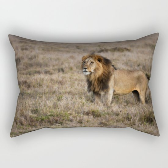 African Lion in Kenya Rectangular Pillow