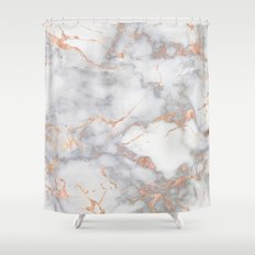 Grey Marble Rosegold  Pink Metallic Foil Style Shower Curtain