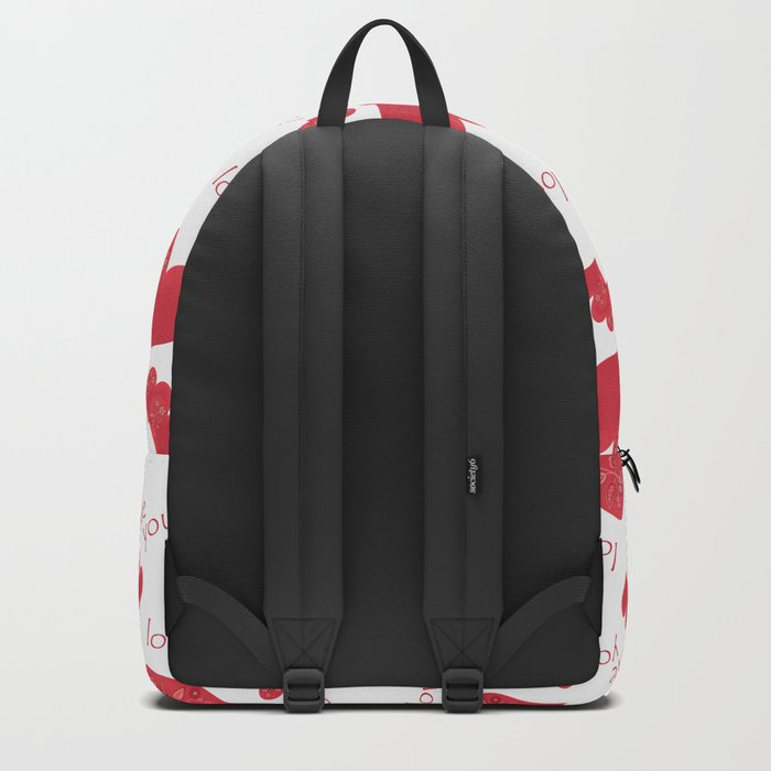 Abstract pattern with red hearts on a white background Backpack