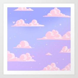Pink Clouds Purple Sky Lo Fi Art Print