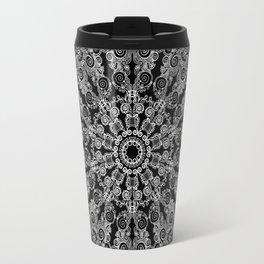Mandala Project 213 | White Lace on Black Travel Mug