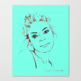 Portrait Collection ink pen drawing woman turquoise Canvas Print